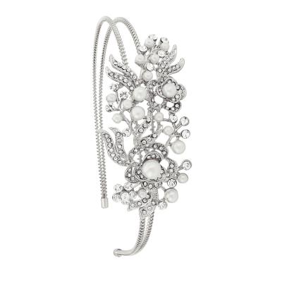 Athena Vintage Floral Headband - Silver