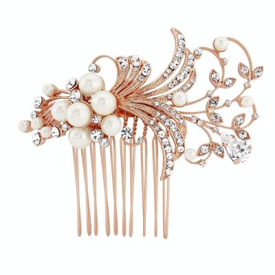 Sass B Vera Pearl Hair Comb Rose Gold