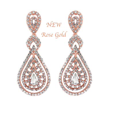 Bejewelled Art Deco Earrings - Rose Gold