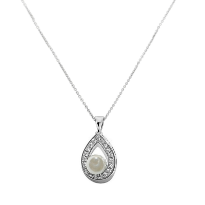 CZ Collection Precious Pearl Necklace - Silver