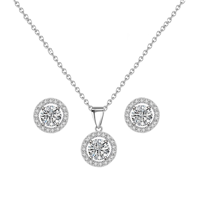 CZ Collection Chic Crystal Necklace Set - Silver