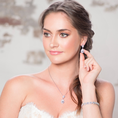 CZ Collection Chic Crystal Earrings - Gold