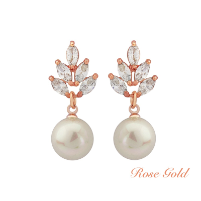 Vintage Pearl Drop Earrings - Rose Gold