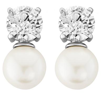 CZ Collection Elegance Pearl Necklace Set