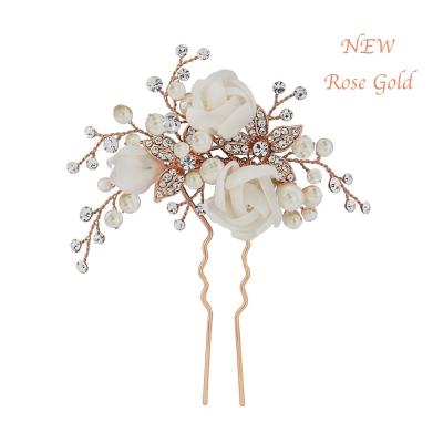 Freya Fabric Rose Bridal Pin - Rose Gold