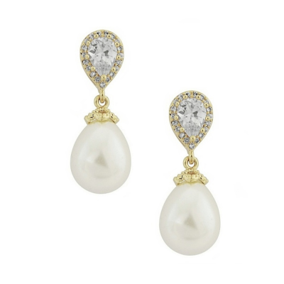 CZ Collection Precious Shimmer Earrings - Gold