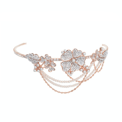 Elite Collection Bejewelled Statement Piece Brow Band - Rose Gold