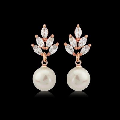 Vintage Pearl Drop Earrings - Rose Gold