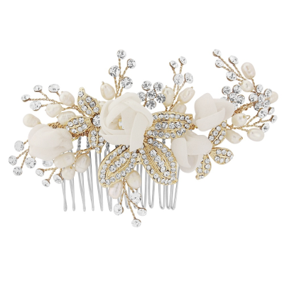 Freya Fabric Rose Wedding Comb - Gold