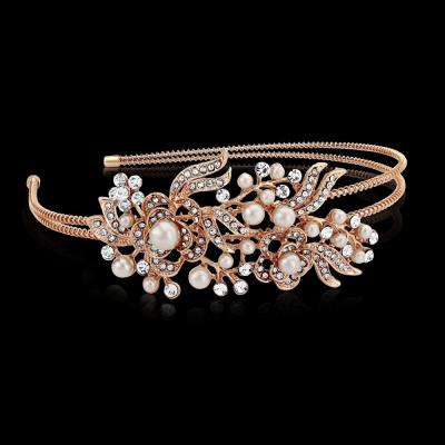 Athena Vintage Floral Headband - Rose Gold