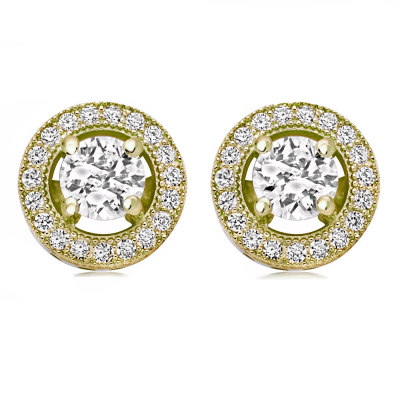 CZ Collection Crystal Stud Earrings - Gold