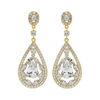 CZ Collection Silver Screen Earrings - Gold