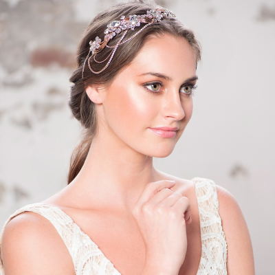 Elite Collection Bejewelled Gatsby Style Headband - Rose Gold