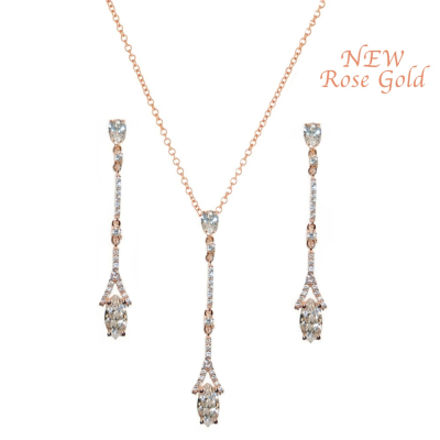 CZ Collection Dainty Sparkle Necklace Set - Rose Gold
