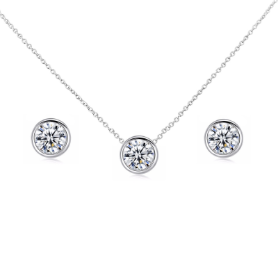 CZ Collection Solitaire Pendant Set
