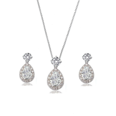 CZ Collection Dazzling Crystal Drop Necklace Set