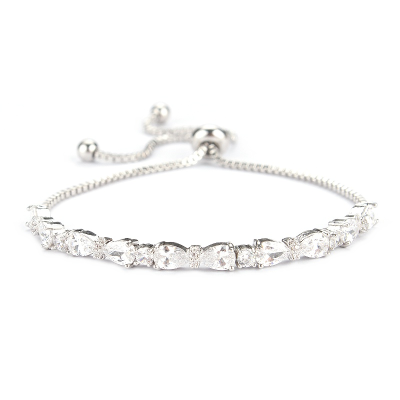 Chic CZ Bracelet Silver Adjustable