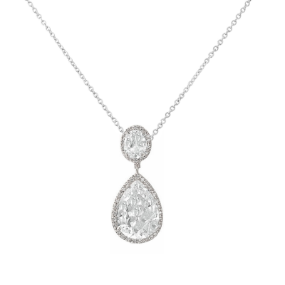 CZ Collection Sheer Elegance Necklace - Silver