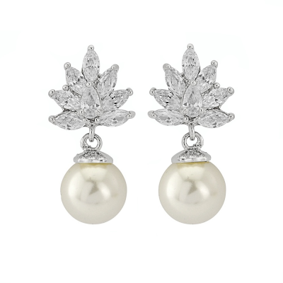 CZ Collection Crystal Cluster Pearl Earrings