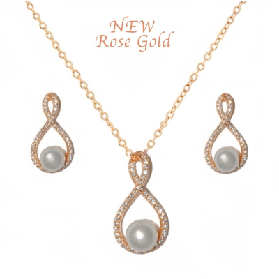 CZ Collection Exquisite Necklace Set - Rose Gold