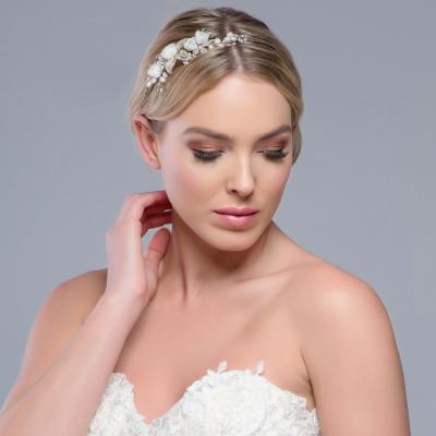Freya Fabric Rose Wedding Comb - Gold