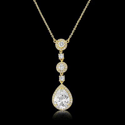CZ Collection Eternally Crystal Necklace - Gold