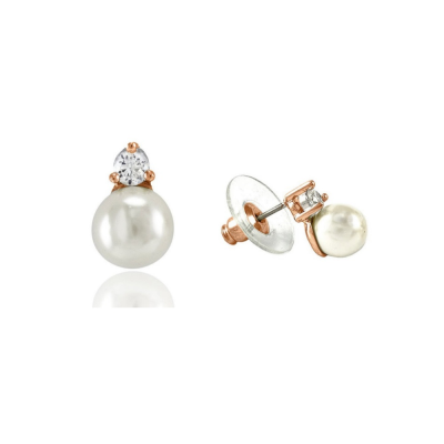 CZ Collection Dainty Pearl Earrings - Rose Gold