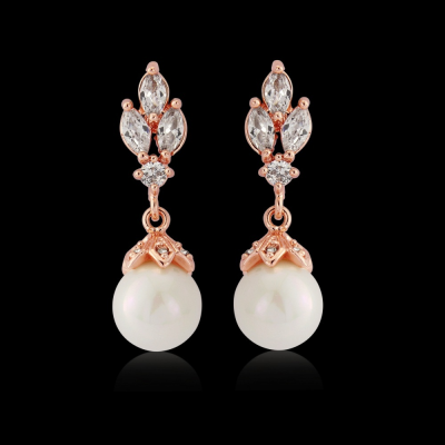CZ Collection Crystal Gem Earrings - Rose Gold