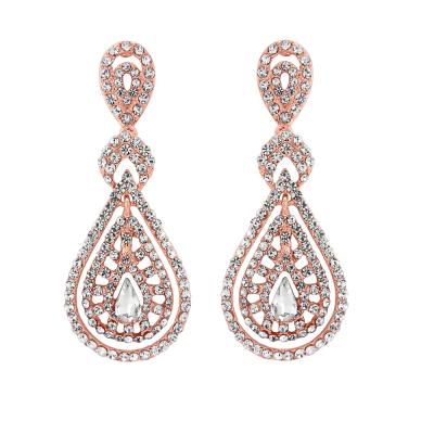 Bejewelled Art Deco Earrings - Rose Gold