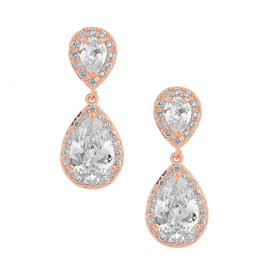 CZ Collection Chic Crystal Earrings - Rose Gold