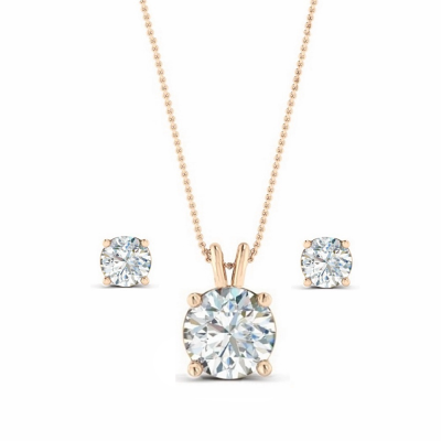 CZ Collection Classic Crystal Necklace Set - A - Rose Gold
