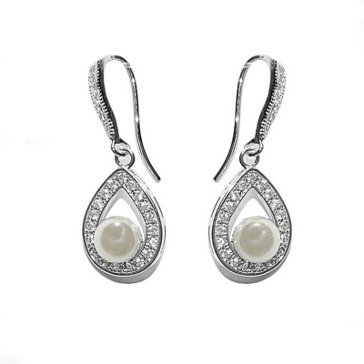 CZ Precious Pearl Earrings