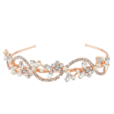 Athena Vintage Chic Hairband Ivory - Rose Gold