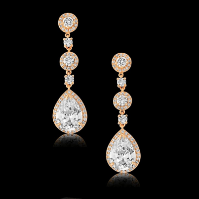 CZ Collection Eternally Crystal Earrings - Rose Gold