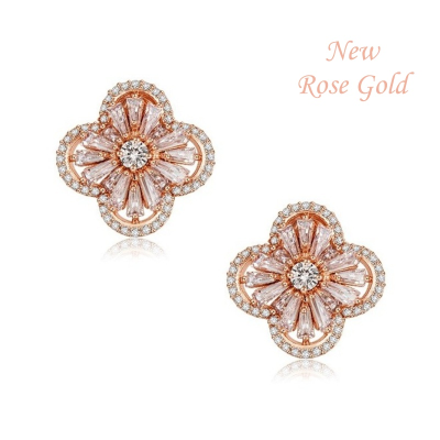 CZ Collection Gatsby Glam Earrings - Rose Gold