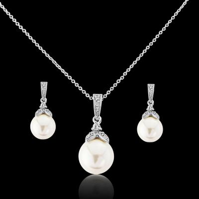 CZ Collection Precious Pearl Necklace Set - Silver