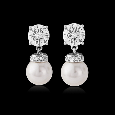 CZ Collection Forever Pearl Earrings