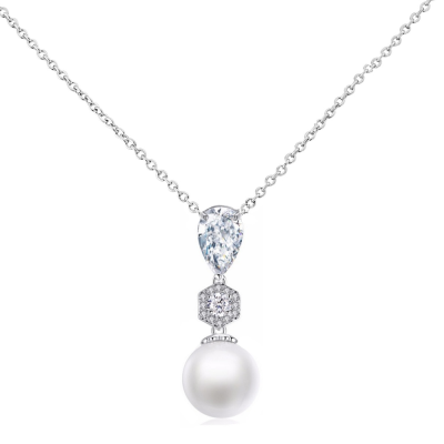 CZ Collection Exquisite Pearl Drop Necklace