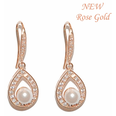 CZ Precious Pearl Earrings - Rose Gold