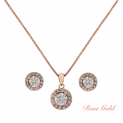 CZ Collection Chic Crystal Necklace Set - Rose Gold