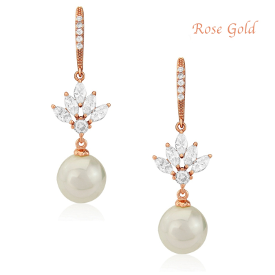 CZ Collection Crystal Elegance Earrings - Rose Gold