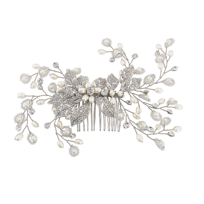 Athena Crystal Extravagance Hair Comb Silver