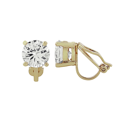 CZ Collection 8mm Solitaire Clip on Earrings - Gold