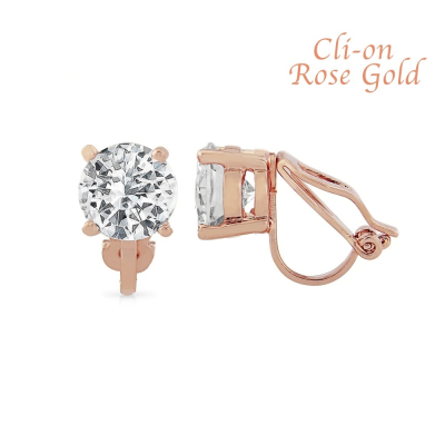 CZ Collection 8mm Solitaire Clip on Earrings - Rose Gold