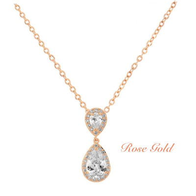 CZ Collection Chic Necklace - Rose Gold