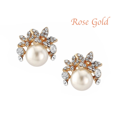 Chic Faux Pearl Earrings - Rose Gold