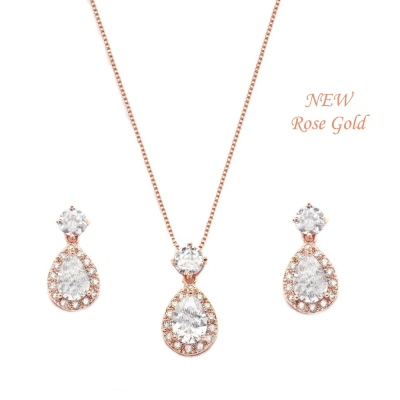 CZ Collection Dazzling Crystal Drop Necklace Set - Rose Gold
