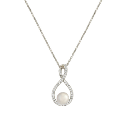 CZ Collection Exquisite Infinity Necklace - Silver