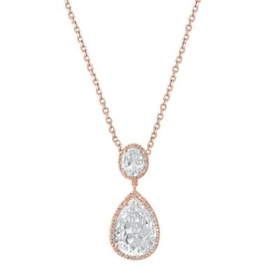 CZ Collection Sheer Elegance Necklace - Rose Gold