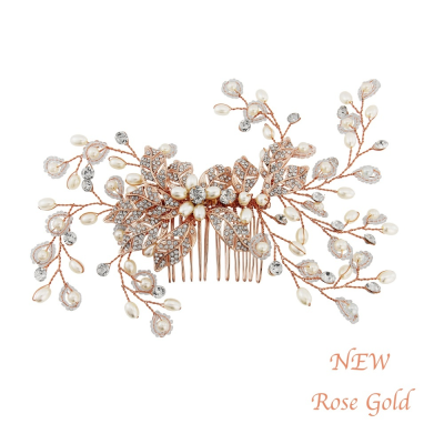 Athena Crystal Extravagance Hair Comb Rose Gold